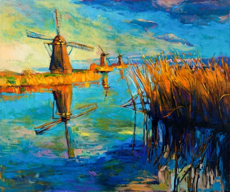 water mill: Original oil painting showing beautiful lake,sunset landscape.Windmills,Fern(rush),sky and clouds. Modern Impressionism