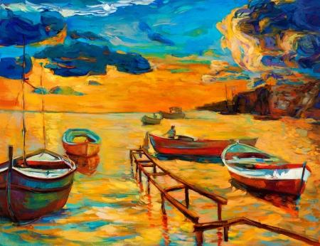 Pintura al óleo original del barco y muelle (muelle) en canvas.Sunset sobre ocean.Modern Impresionismo Foto de archivo
