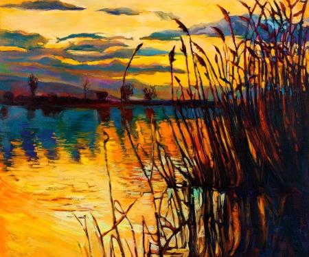 Peinture à l'huile originale montrant beau lac, coucher de soleil landscape.Fern (rush), le ciel et les nuages. Impressionnisme moderne