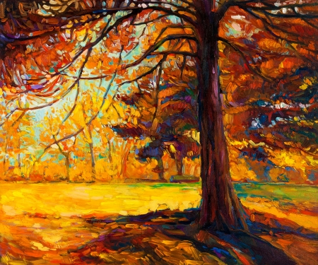 Original oil painting showing beautiful autumn landscape.Big old tree in the forest. Modern Impressionism photo