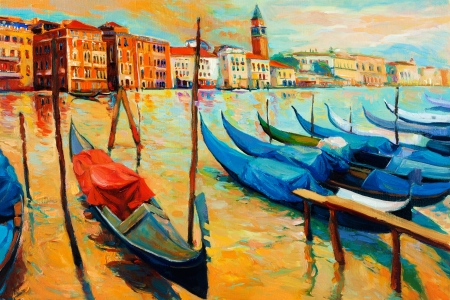 gondolier: Original oil painting of beautiful Venice, Italy on sunset.gondolas and houses  on canvas.Modern Impressionism