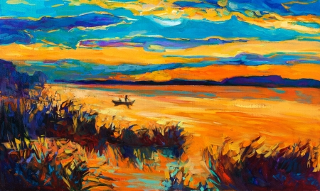 Original oil painting showing beautiful lake with boat,sunset landscape.Fern(rush),sky and clouds. Modern Impressionism Stock Photo - 17158714