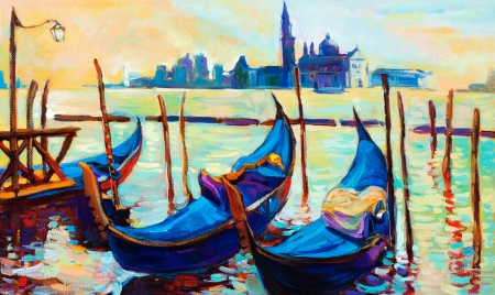 gondolier: Original oil painting of beautiful Venice, Italy on sunset