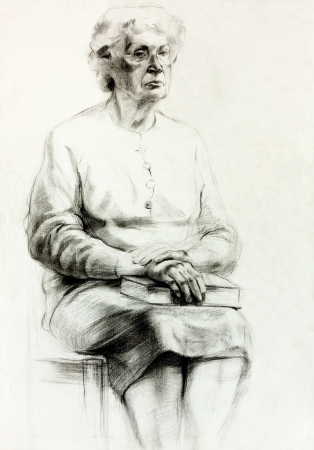 Original pencil  or drawing charcoal, and  hand drawn painting or  working  sketch of a woman sitting .Free composition photo