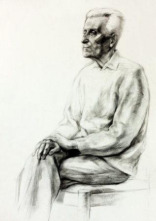 face painting:  Original pencil  or drawing charcoal, and  hand drawn painting or  working  sketch of a man sitting.Free composition