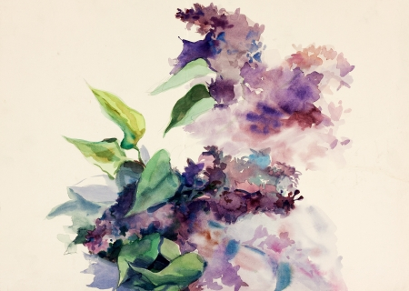 Original abstract water color and  hand drawn painting or   sketch of purple flowers