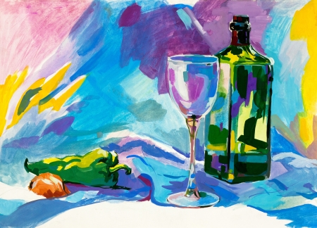 stilllife:  Original abstract water color and  hand drawn painting or   sketch of a bottle,glass,pepper and onion