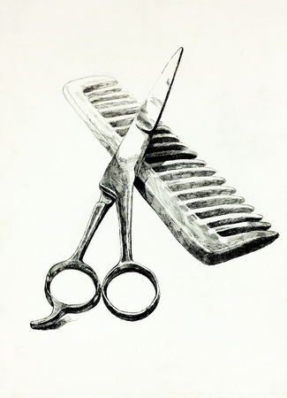 Original pencil  or drawing charcoal, and  hand drawn painting or  working  sketch of scissors and comb.Free composition photo