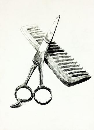 Originale matita o carboncino disegno e disegnato a mano pittura o disegno di lavoro di forbici e della composizione comb.Free Archivio Fotografico