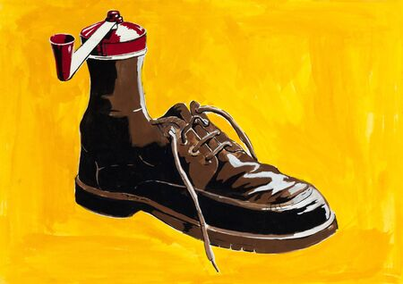 Original abstract water color and  hand drawn painting or   sketch of a shoe and coffee mill on yellow background  photo