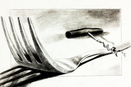 pencil drawn:  Original pencil  or drawing charcoal, and  hand drawn painting or  working  sketch of a fork and corkscrew.Free composition