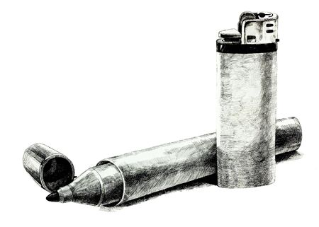 Original pencil  or drawing charcoal, and  hand drawn painting or  working  sketch of a lighter and Felt Tip Pen.Free composition photo