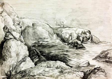 Original pencil  or drawing charcoal and  hand drawn painting or  working  sketch of a quiet lake or ocean and shore with trees and rocks photo