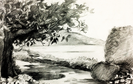 lake shore:  Original pencil  or drawing charcoal and  hand drawn painting or  working  sketch of a quiet lake and shore with trees and rocks Stock Photo