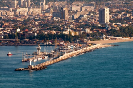 bulgaria: View towards Varna harbour or port  passenger terminal    from Asparuhovo and Galata City landscape