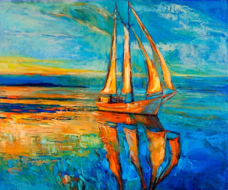 impressionism: Original oil painting of sail ship and sea on canvas.Sunset over ocean.Modern Impressionism