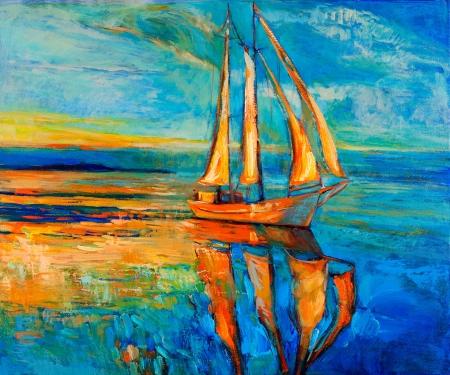 Pintura al óleo original del barco de vela y mar en canvas.Sunset sobre ocean.Modern Impresionismo Foto de archivo