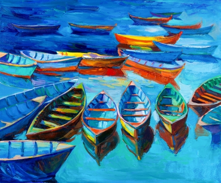 impressionism: Original oil painting of boats and sea on canvas.Sunset over ocean.Modern Impressionism
