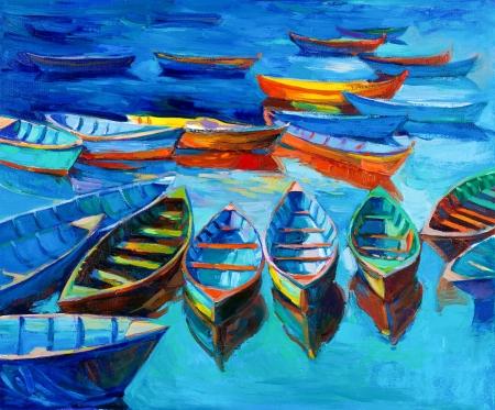 Pintura al óleo original de los barcos y el mar en canvas.Sunset sobre ocean.Modern Impresionismo