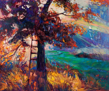 Original oil painting showing beautiful lake,sunset landscape.Autumn forest and sky. Modern Impressionism Stock Photo - 17851973