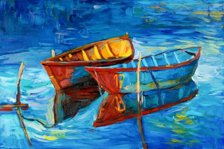 oil pastels: Original oil painting of boats and sea on canvas.Sunset over ocean.Modern Impressionism