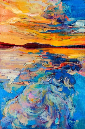 impressionism: Original oil painting of sea and sky on canvas.Sunset over ocean.Modern Impressionism
