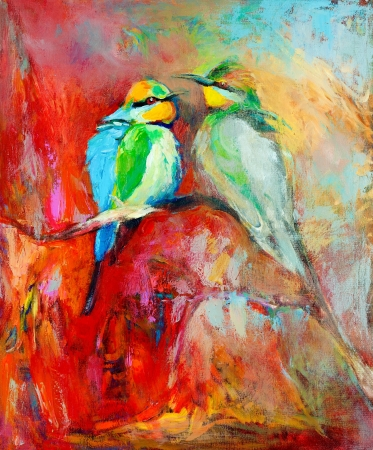 Original oil painting of blue tailed bee eaters, song birds on canvas.Modern impressionism photo