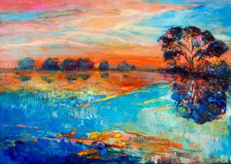 Pintura al óleo original mostrando hermoso, bosque landscape.Autumn atardecer lago y el cielo. Modern Impresionismo