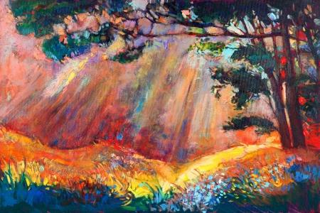 Pintura al óleo original mostrando hermosa puesta de sol landscape.Autumn bosque y el cielo. Modern Impressionism