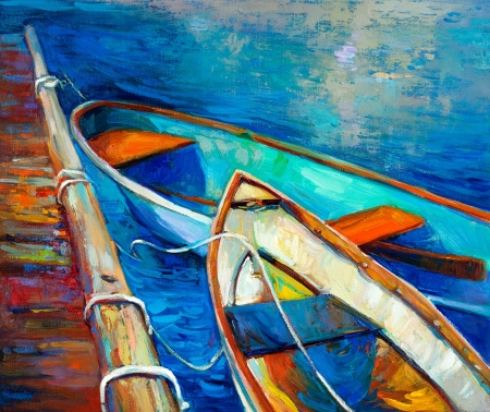 oil painting: Original oil painting of boat and jetty(pier) on canvas.Sunset over ocean.Modern Impressionism