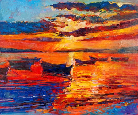 Original oil painting of boats and sea on canvas.Sunset over ocean.Modern Impressionism Stock Photo - 18764459