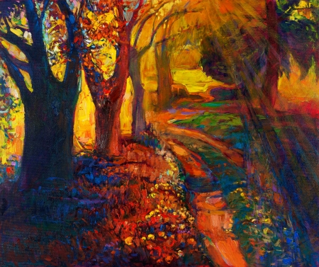 Original oil painting showing beautiful sunset landscape.Autumn forest and sky. Modern Impressionism Stock Photo - 18764458
