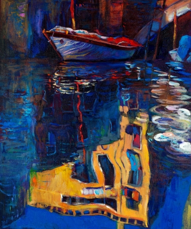 gondolier: Original oil painting of beautiful Venice, Italy  on canvas.Boat and building reflection.Modern Impressionism