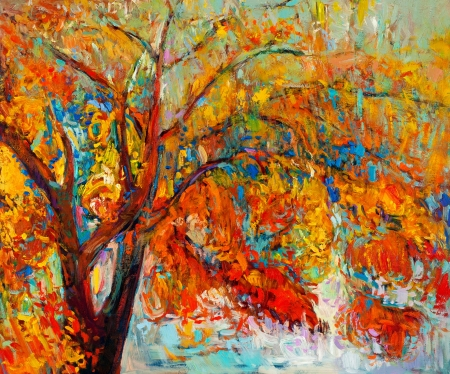 oil paintings: Original oil painting showing beautiful Autumn tree. Modern Impressionism