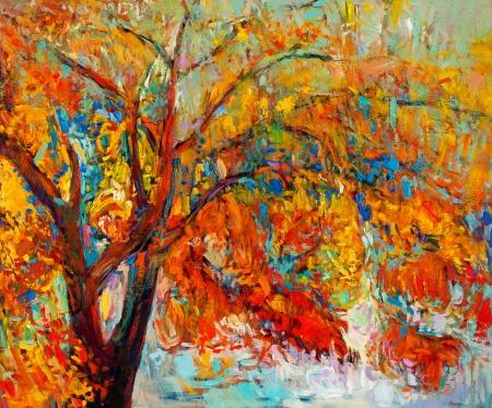 Pintura al óleo original mostrando hermoso árbol de otoño. Modern Impresionismo