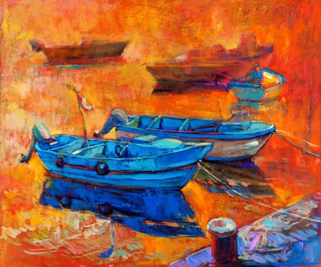 impressionism: Original oil painting of boats and jetty(pier) on canvas.Sunset over ocean.Modern Impressionism Stock Photo