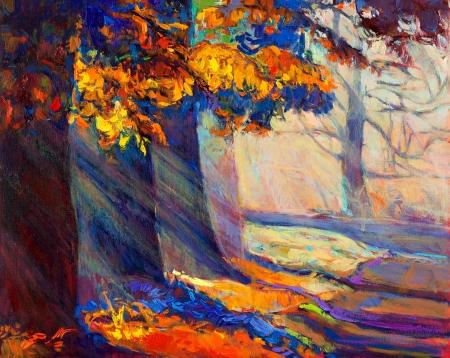 Pintura al óleo original mostrando hermoso bosque landscape.Autumn puesta del sol y los rayos solares. Modern Impresionismo