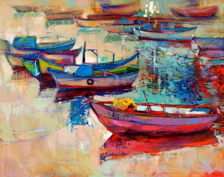 oil pastels: Original oil painting of boats and jetty(pier) on canvas.Sunset over ocean.Modern Impressionism Stock Photo