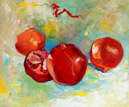 colorful still life: Original oil painting of tasty  pomegranate fruit ( Punica granatum) on canvas.Modern Impressionism