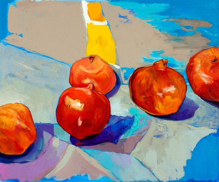 Original oil painting of tasty  pomegranate fruit   Punica granatum  on canvas Modern Impressionism photo