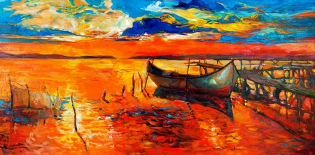impressionism: Original oil painting of boats and jetty pier  on canvas Sunset over ocean Modern Impressionism Stock Photo