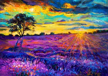 silvestres: Pintura al �leo original de los campos de lavanda en la lona Sunset paisaje moderno Impresionismo