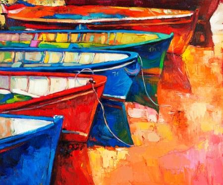 ボート キャンバス現代印象派の海に沈む夕日の防波堤のオリジナルの油絵 写真素材