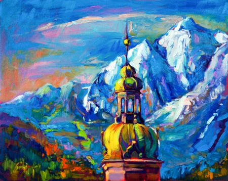 oil pastels: Original oil painting of church in front of mountain landscape on canvas.Modern Impressionism Stock Photo