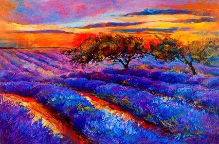oleos: Pintura al �leo original de los campos de lavanda en la lona Sunset paisaje moderno Impresionismo