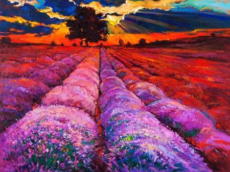 Origineel olieverfschilderij van lavendel velden op doek Sunset landschap Modern Impressionisme Stockfoto - 23178073