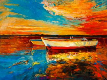 Origineel olieverfschilderij van boten en de zee op canvas.Sunset meer dan ocean.Modern Impressionisme Stockfoto - 23178074