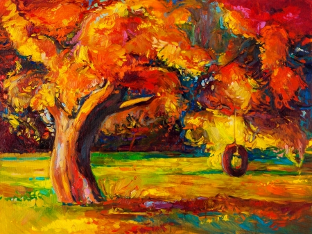 Original oil painting showing beautiful Autumn tree  Modern Impressionism Stock Photo - 23178016