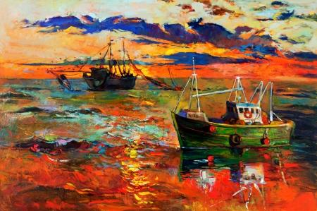 釣り船とキャンバス現代印象派の海に沈む夕日の海の元の油絵 写真素材