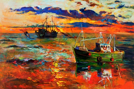 impressionism: Original oil painting of fishing ships and sea on canvas Sunset over ocean Modern Impressionism